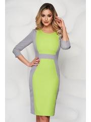 Rochie StarShinerS gri cu verde eleganta midi din stofa cu maneci trei-sferturi
