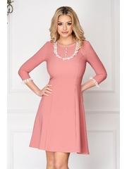 Rochie StarShinerS roz prafuit eleganta scurta cu aplicatii de dantela din stofa