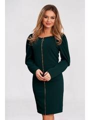 Rochie verde-inchis scurta din material usor elastic cu croi larg si umeri cu volum