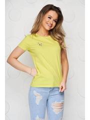Tricou StarShinerS galben din bumbac organic cu croi larg si broderie florala unica