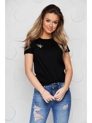 Tricou StarShinerS negru din bumbac organic cu croi larg si broderie florala unica