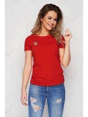 Tricou StarShinerS rosu din bumbac organic cu croi larg si broderie florala unica