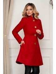 Palton Artista rosu elegant din stofa in clos cu buzunare captusit pe interior