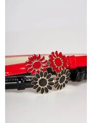 Set 2 curele SunShine din piele ecologica lacuita cu catarama metalica in forma de floare
