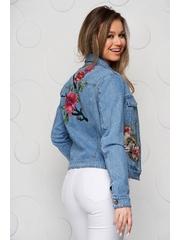 Geaca de blugi SunShine albastra scurta cu broderie florala