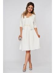 Compleu StarShinerS ivoire cu bolero si rochie din stofa elastica cu flori in relief si perle