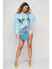 Camasa dama SunShine albastra casual brodata din bumbac cu maneci bufante