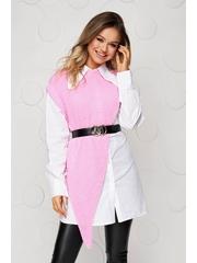 Camasa dama SunShine roz cu croi larg suprapunere de material cu accesoriu tip curea