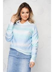 Bluza dama albastra tricotata cu croi larg din material pufos in degrade