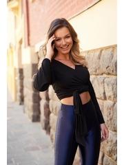 Bluza dama cropped StarShinerS neagra mulata cu decolteu petrecut din material elastic tip jersey