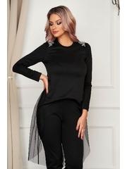 Bluza dama neagra StarShinerS asimetrica cu croi larg cu aplicatii de tul cu aplicatii cu pietre strass