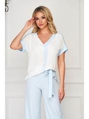 Bluza dama StarShinerS alba eleganta cu croi larg cu decolteu in v cu maneci scurte
