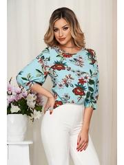 Bluza dama StarShinerS albastru aqua cu imprimeu floral cu croi larg