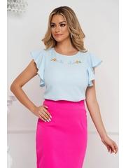Bluza dama StarShinerS albastru-deschis eleganta din voal cu croi larg cu volanase la maneca cue broderie