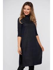 Bluza dama StarShinerS albastru-inchis casual lunga din material elastic cu un croi mulat