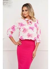 Bluza dama StarShinerS cu imprimeu floral din material subtire cu guler tip esarfa