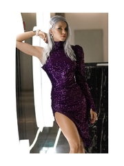 Rochie Anemona mov din paiete elegante