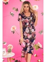 Rochie bleumarin eleganta cu imprimeuri florale