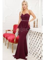 Rochie de seara lunga in nuante de mov cu peplum