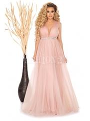 Rochie Ely roze lunga cu tull si decolteu in V