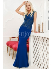 Rochie lunga albastra cu broderie din dantela