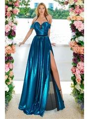 Rochie lunga in nuante de albastru