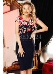 Rochie Matelia rosie mulata cu imprimeu floral