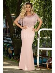 Rochie roz lunga cu franjuri