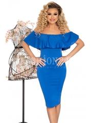 Rochie Valesia albastra cu volanase elegante