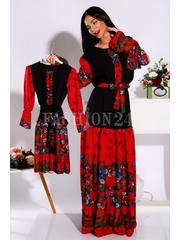 Set mama fiica in stil traditional rosu si negru