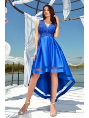 Rochie de seara albastra Atmosphere asimetrica din tafta