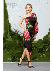 Rochie de seara asimetrica neagra cu imprimeu floral