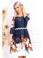 Rochie de zi bleumarin in clos cu imprimeu floral si maneca trei sferturi