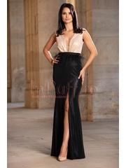 Rochie lunga de lux bej si negru cu pene