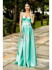 Rochie lunga tafta turquoise pal