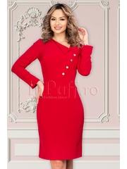 Rochie Moze conica rosie cu fenta si rever