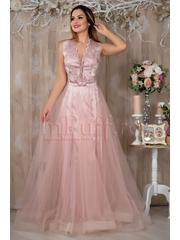Rochie Pretty Girl lunga roz din tul si broderie