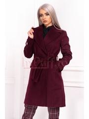 Palton dama elegant trei sferturi mov-pruna din stofa