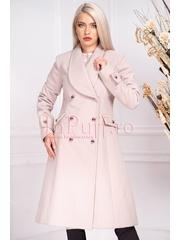 Palton dama MBG roz prafuit trei sferturi croi A din stofa cu nasturi argintii