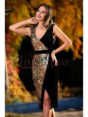 Rochie din catifea si paiete gold-multicolore