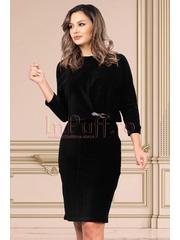 Compleu Effect negru bluza si fusta din catifea texturata