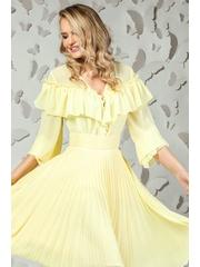 Bluza Pretty Girl galben pal din voal cu volanase