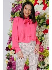 Bluza Atmosphere roz din voal cu funda din panglici