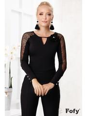Bluza eleganta neagra cu tul Fofy