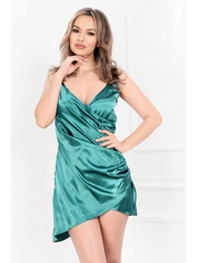 Rochie verde smarald din satin